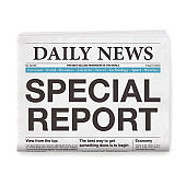 SPECIAL REPORT Headline. Newspaper isolated on White Background