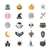 Flat Color Icons Design Set of Halloween.