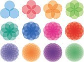 Round ornaments set. Abstract creative flowers
