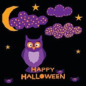 Halloween owl card background.