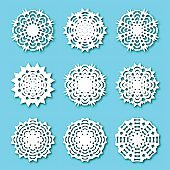 Set paper snowflakes, vector illustration.