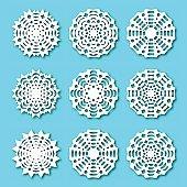 Set paper snowflakes, vector illustration.