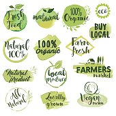 Hand drawn watercolor stickers and badges for organic food