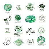 Set of organic food hand drawn watercolor stickers and badges