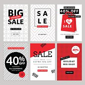 Set of mobile banners for online shopping
