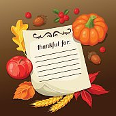 Thanksgiving Day greeting card. Background with note and autumn objects