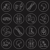 Vector set of snowboard and ski icons