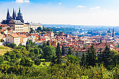 Prague. Architecture cityscape of top view of the city