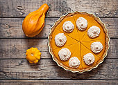 Festive Homemade Delicious Pumpkin pie with whipped cream made for