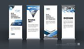 Abstract business vector set of modern roll Up Banner stand
