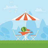 Summer picnic on the backyard. Table with chairs, umbrella, watermelon
