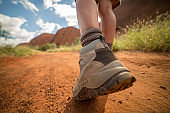 Low angle view of hiker's boots walking on dirt road