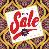 Vector sale discount banner in Eastern style.