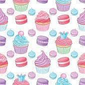 Colorful blue, pink and purple cupcakes. Seamless vector desserts pattern.