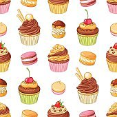 Various bright colorful chocolate desserts. Seamless vector pattern.