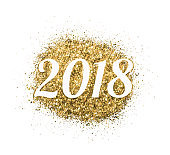 2018 of gold glitter on white background, symbol of New Year