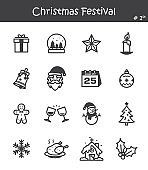 Christmas festival icon set 1