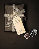 Christmas present gift boxes with tag