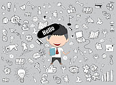 Happy face businessman business doodles objects background. a concept of balancing personal life between office, drawing by hand vector
