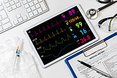 vital sign monitor in tablet PC, medical technology concept