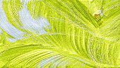 Textured abstract painting. Hand painted background, leaves of plant, Yellow, green , blue  white.