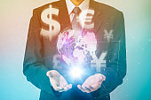 business person and financial technology (FinTech) conceptual abstract, key currency,  special drawing rights (SDR)