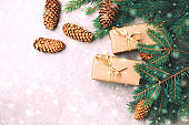 Christmas background. Craft gift boxes and decoration