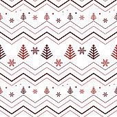 Zigzag lines with snowflake and pine tree icons, seamless Christmas pattern