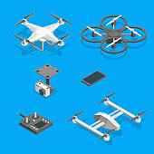 Drones and Equipment Technology Control Set Isometric View. Vector