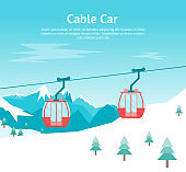 Cartoon Car Cabins Cableway in Mountains Card Poster. Vector