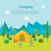 Cartoon Camping Day View Card Poster. Vector