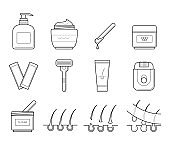 Icons tools for hair removal.