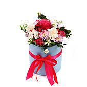 Bouquet of different green, red, yellow, blue and purple flowers on white