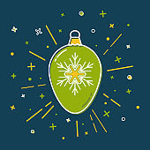 Christmas bauble icon in flat style