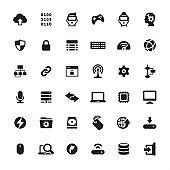 Computer Part and Digital Technology icons set