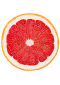Fresh organic half slice grapefruit top view