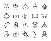 Baby theme pixel perfect 48X48 icons. Pictograms of baby, pram, crib, mobile, toys, rattle, bottle, diaper, bathtub, cloth, bib and other newborn related elements. Line out symbols.
