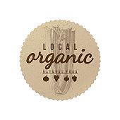 Local organic natural food round paper emblem