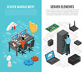 Datacenter Isometric Vertical Banners