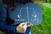 Work life balance dilemma concept with written words