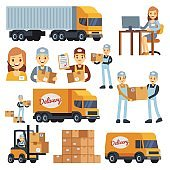 Warehouse workers cartoon vector characters - loader, delivery man, courier and operator