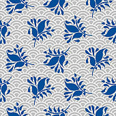 Japanese pattern in blue and gray colors