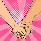 Hands of lovers comic style. Two lovers crossed their arms. Valentine's Day. Pink background. Vintage pop art retro vector illustration.