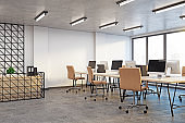 Contemporary coworking office with reception