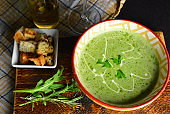 Fresh Spinach and Broccoli Soup in a Bowl