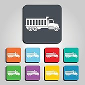 Cargo Delivery Truck Vector Icon Illustration