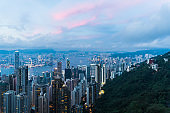 Hong kong china cityscape in the evening from victoria peak