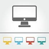 Computer Monitor Single Icon Vector Illustration