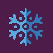 Colored abstract geometric snowflake