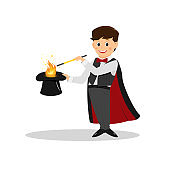 Magician with hat and magic wand.